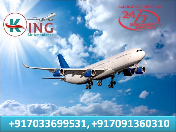 High- Quality Air Ambulance in Patna with MBBS Doctor Facility by King